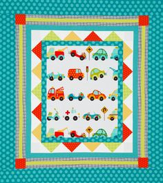 Frame a cute novelty print in border fabrics that pop with fun patterns in eye-catching colors. Simple shapes and bright colors are perfect for a child's quilt.