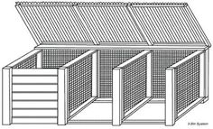 3 Bin Compost System. Front slats are removable and are added as the material gets higher. Notice wire sides.