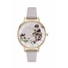 Olivia Burton 'Embroidery Pansy' 38mm watch (3,060 PHP) ❤ liked on Polyvore featuring jewelry, watches, purple, purple jewelry, buckle jewelry, buckle watches, olivia burton watches and floral watches
