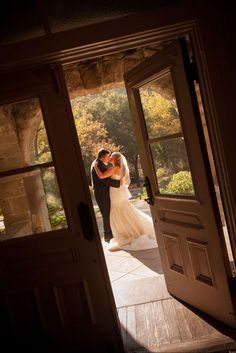 "After an emotional ""first look"" the bride and groom got a beautiful photo from our front porch.  