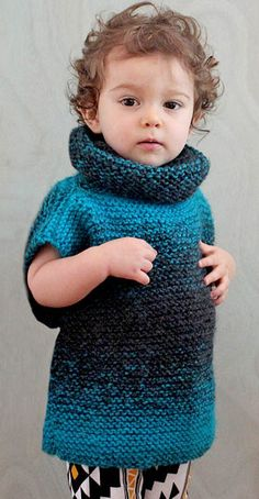 Free Knitting Pattern for Easy 3 Square Child's Sweater - Gina Michele's super easy pullover is constructed of three squares knit in garter stitch. Poncho Knitting Patterns, Knitted Poncho, Poncho Sweater, Knitting For Kids, Easy Knitting, Knitting Needles, Knit Baby Sweaters, Girls Sweaters, Scarfie Yarn