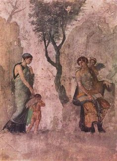 Ancient Roman wall fresco from Pompeii, Italy.  Pompeii was a fascinating day, stepping back in time 2,000 years ago.  Did you know they had wine bars & indoor plumbing??