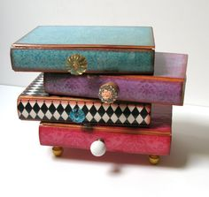 Pile Of Books Four Drawer Jewelry Box Trinket by BlissfulThinkin, $99.00