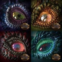 Clay dragon eyes by *CassiopeiaArt. Mt necklaces and bracelets are similar! Polymer Clay Kunst, Polymer Clay Dragon, Fimo Clay, Polymer Clay Projects, Polymer Clay Creations, Polymer Clay Jewelry, Dragon Eyes, Crea Fimo, Dragons