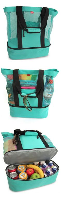 Umm... what?! BEST BEACH BAG EVER! Mesh tote to keep the…