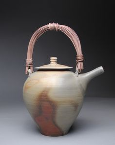 Wood Fired Teapot with Handmade Cane Handle D26 by JohnMcCoyPottery on Etsy