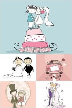 Wedding Illustrations | Wedding cartoon illustrations vector