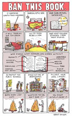 """Ban this book"" – cartoon by Grant Snider / Incidental Comics. #BannedBooksWeek"