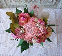 Allergy Free Vintage Rhinestone Ribbon Rosettes Bridal Bouquet Wedding Bride Flowers Roses BridalBouquet EcoBride EcoWedding | by createinspirebelieve