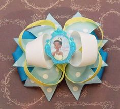 A personal favorite from my Etsy shop https://www.etsy.com/listing/182710984/princess-tiana-hairbow-princess-and-the