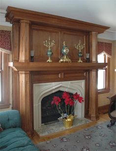 custom mantle and fireplace surround
