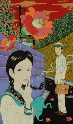 Yuji Moriguchi Erotic Imagery Combines Manga with Traditional Japanese Art (NSFW) - Art-Sheep Pretty Art, Cute Art, Manga Art, Anime Art, Image Swag, Drawn Art, Japon Illustration, Japanese Illustration, Arte Sketchbook