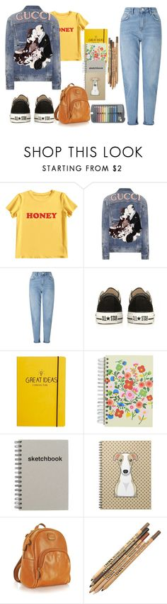 """Untitled #682"" by mihaelamarula on Polyvore featuring MIEL, Gucci, Miss Selfridge, Converse, Happy Jackson, Paperchase and Bric's"