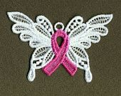 FSL Pink Ribbon Butterfly Machine Embroidery Design Free Standing Lace Instant Download 4x4 hoop