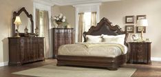 Homelegance Perry Hall 6 Piece Platform Bedroom Set in Brown Cherry - from BEYOND Stores Fancy Bedroom Sets, King Bedroom Sets, Master Bedroom Design, Bedroom Suites, Master Bedrooms, Bedroom Designs, Perry Hall, Leather Bed, Bonded Leather