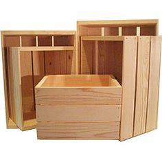 Heavy-duty Unfinished Pine Crate Sets (Pack of 5). $77.99 Update your home decor with these unfinished natural pine crates. These open crates are ideal for storing multiple items in an organized manner.  Pack includes five sets of five assorted crates each:  Assorted crates measure 14 inches wide/16 inches wide/18 inches wide/20 inches wide/22 inches wide x 9.5 inches high x 16.25 inches deep