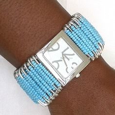 saftypin wrist watch | Safety Pin Beaded Watch - Turquoise color - A Gift To Africa
