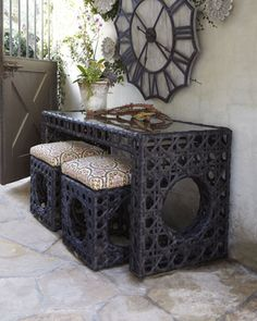 My new obsession --love this website.    Woven Outdoor Console & Garden Seat with Cushion at Horchow.