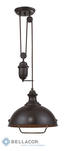 Inspired by antique lighting, this series recalls turn-of the century design where simple aesthetics and mechanical function combined to create charming, yet versatile fixtures. These classic pull-downs have a decorative weight that counterbalances the fixture for easy height adjustability anytime by simply pulling down or lifting up on the fixture. http://www.bellacor.com/productdetail/elk-lighting-65071-1-farmhouse-oiled-bronze-pendant-779778.htm?partid=social_pinterestad_779778