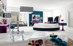 Amazing Teenage Rooms Inspiring a Teenage Girl Bedroom : Amazing Teenage Rooms White Bathup Round Bed