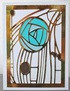 Charles Rennie Mackintosh rose card in turquoise and gold made on Silhouette Cameo