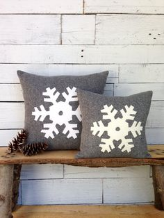 Christmas Pillow Winter Decor Pillow Snowflake by AwayUpNorth