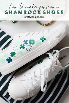 St Patrick's Day Craft: DIY Shamrock Shoes with Heat Transfer Vinyl - The Pretty Life Girls Diy Vinyl Projects, Vinyl Crafts, Silhouette Projects, Silhouette Cameo, St Patrick's Day Crafts, Easy Crafts, Mini Iron, Diy Sweatshirt, Cricut Htv