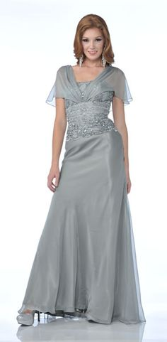 Cinderella Divine 1986 Affordable Mother of the Bride/Groom Dress. Straight across lace beaded top with bell sleeve and  long A-line skirt. Chat with us at http://messenger.providesupport.com/messenger/therosedress.html?ps_s=j1SnsL3Hqy8k