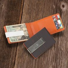 Personalized Metro Leather Wallet/Money Clip - #groomsmen gift idea
