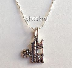 #1 Mom Charm Pendant Necklace Sterling Silver 925 Chain Mothers Day Gift USA