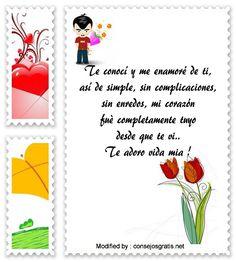 descargar frases de amor para mi enamorada,textos bonitos de amor para enviar a mi novia por whatsapp : http://www.consejosgratis.net/mensajes-cortos-de-amor/