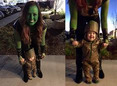 This Gamora and Groot mommy and me Halloween costume is simply amazing! Check out the post for 100 creative costume ideas and awesome Halloween costume inspiration!