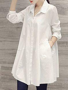 春秋気質アップさせゆったりコットンカジュアルチュニック シャツワンピース - レディースファッション激安通販|20代·30代·40代ファッション