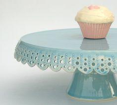 Medium cake stand... azure lace cake plate. via Etsy