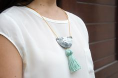 DIY summer tassel necklace with step-by-step tutorial