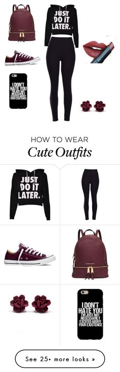 """Cute high school outfit"" by caity0312 on Polyvore featuring Converse, Michael Kors, Fiebiger, women's clothing, women, female, woman, misses and juniors"