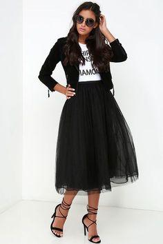cool Jupon en tulle : New York Midi Girl Black Tulle Skirt at Lulus.com!...