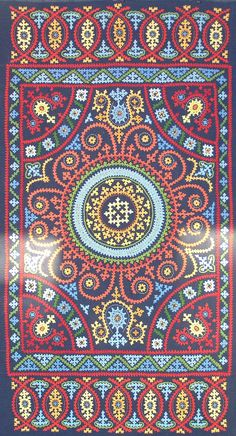 "Marash Embroidery by Maya Heath - 22.5"" x 42 - Cotton floss on linen ground - completed 10-26-2014"