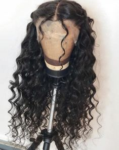 Ulovewigs Human Virgin Hair Wave Pre Plucked Front Wig And Full Lace Wi. - Ulovewigs Human Virgin Hair Wave Pre Plucked Front Wig And Full Lace Wig For Black Woman F - Curly Hair Styles, Natural Hair Styles, Natural Wigs, Wig Styles, Curly Hair For Prom, Long Curly Black Hair, Black Hair Curls, Loose Hair, Colored Curly Hair