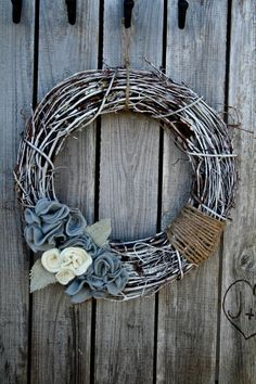 Grey and ivory felt flower wreath with burlap by TheCreativeGypsy