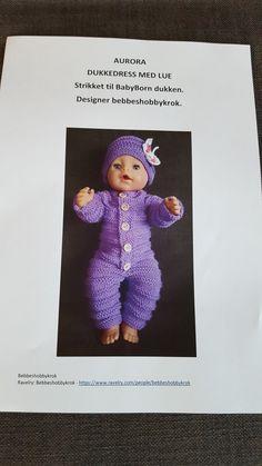 AURORA  Dukkedress med lue til BabyBorn dukken. Designer bebbeshobbykrok.