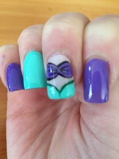 Little Mermaid Nails inspired through Pinterest and designed by Kiki Nail Salon. Love love love it!!!