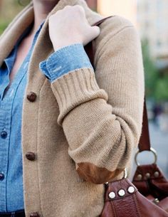 elbow patch cardigan, chambray shirt