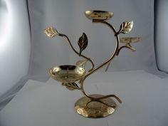 Kerzenhalter Leuchter floral verziert Handarbeit vergoldet?