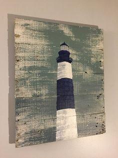 Nautical Decor Light House Blue and White 20 x by WoodburyCreek