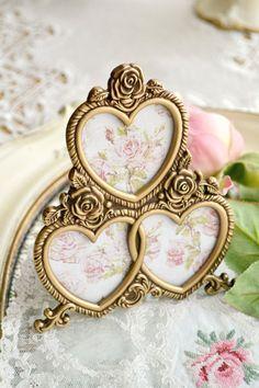Beautiful Vintage Triple Heart Gold Picture Frame by Jenneliserose