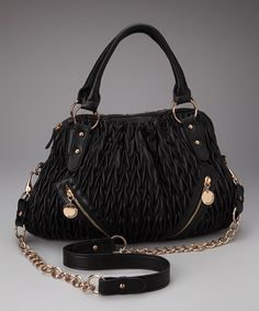 Take a look at this Black Ruched Zip Satchel on zulily today!