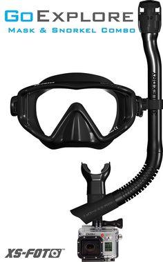 Black GoExplore: GoPro Hero 4 Diving Mask and Snorkel .