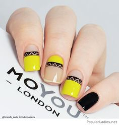 Nude vs yellow gel nails with print