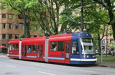Portland's Streetcar. Portland, Oregon.  The streetcar runs north-south through downtown Portland.